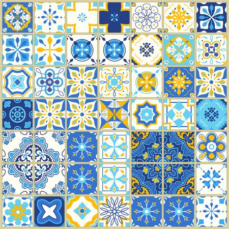 Ilustración de Seamless pattern with portuguese tiles. Vector illustration of Azulejo on white background. Mediterranean style. Blue and yellow design. - Imagen libre de derechos