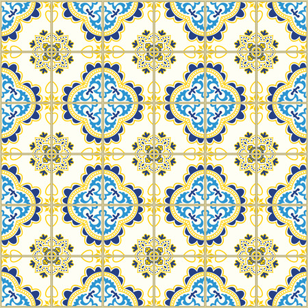 Ilustración de A Seamless pattern with portuguese tiles. Vector illustration of Azulejo on white background. Mediterranean style. Blue and yellow design. - Imagen libre de derechos