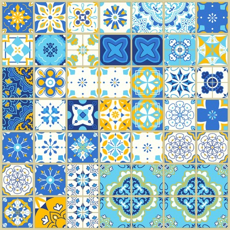 Ilustración de Seamless pattern with portuguese tiles. Vector illustration of Azulejo on white background. Mediterranean style. Blue and yellow design. - Imagen libre de derechos