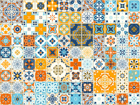 Illustration pour Seamless pattern with portuguese tiles. Vector illustration of Azulejo on white background. Mediterranean style. Multicolor design. - image libre de droit
