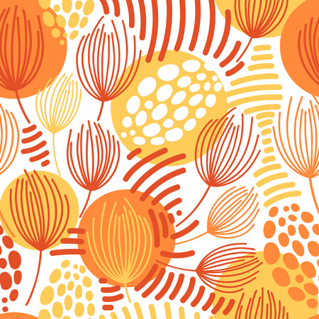 Illustration pour Vector seamless pattern on white. Abstract background with floral elements. Natural design. - image libre de droit