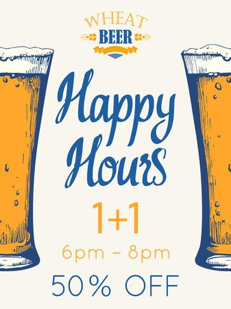 Ilustración de Happy hours poster. Vector illustration with glass of beer in sketch style for bar. Drink menu for celebration. Special offer. - Imagen libre de derechos