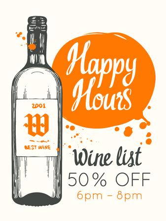 Ilustración de Happy hours poster. Vector illustration with bottle of wine in sketch style for bar. Drink menu for celebration. Special offer. - Imagen libre de derechos