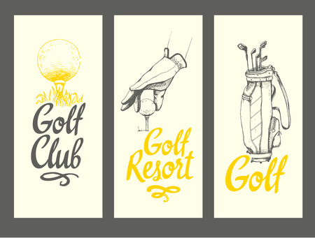 Ilustración de Golf layout banners with ball, bag, clubs, glove. Vector set of hand-drawn sports equipment. Illustration in sketch style on white background. Brush calligraphy elements for your design. - Imagen libre de derechos