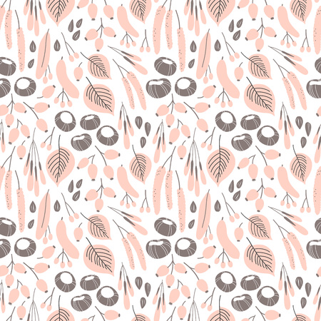 Illustration for Vector fall seamless pattern on white. Abstract background with floral elements. Natural design. Autumn mood. - Royalty Free Image