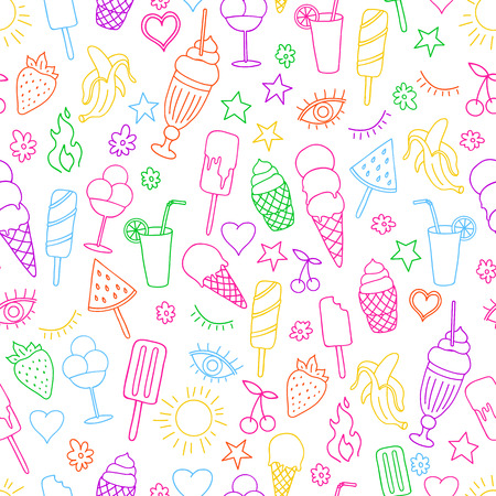 Illustration pour Vector seamless pattern on white background with ice cream and ice pop. Line art. - image libre de droit