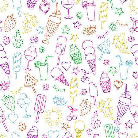 Ilustración de Vector seamless pattern on white background with ice cream and ice pop. Line art. - Imagen libre de derechos