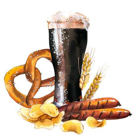 Foto de Oktoberfest. Watercolor  with glass of beer and snack - Imagen libre de derechos