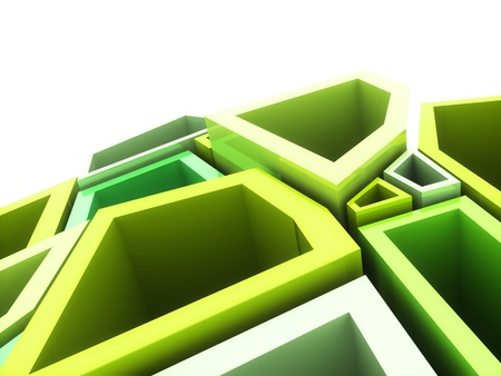 Abstract geometrical background with green elements and copyspace