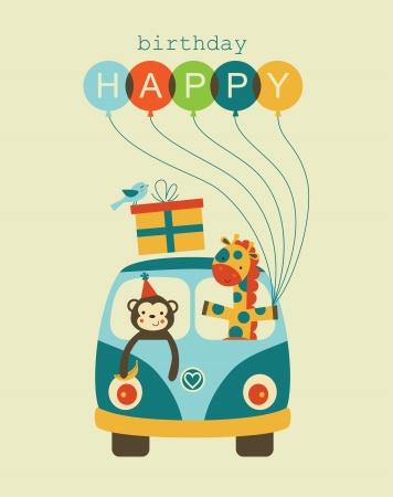 Ilustración de fun happy birthday card design.  - Imagen libre de derechos