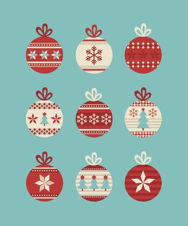 cute christmas balls set. vector illustration