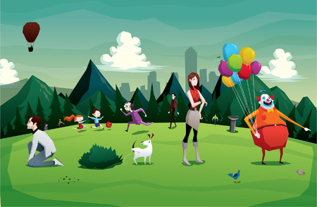 Illustration for Cartoon park city illustration with people - Royalty Free Image
