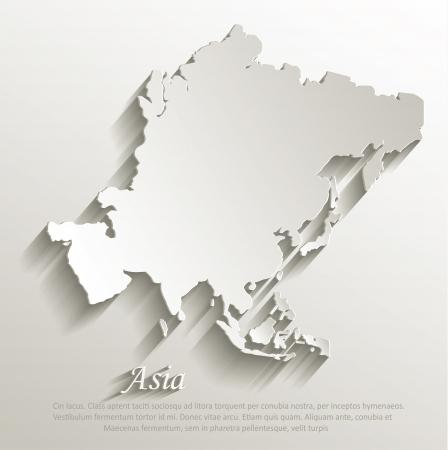 Ilustración de Asia map card paper 3D natural vector - Imagen libre de derechos