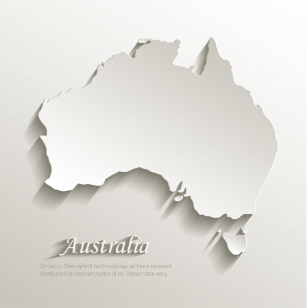 Illustration for Australia map card paper 3D natural vector  - Royalty Free Image