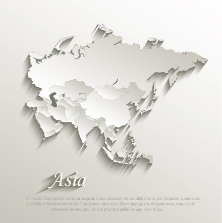 Illustration pour Asia political map card paper 3D natural vector individual states separate  - image libre de droit