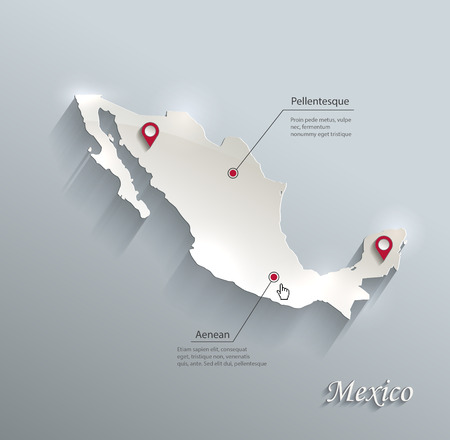 Illustration for Mexico map blue white card paper 3D vector - Royalty Free Image