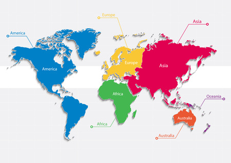 Illustration pour world map continents colors vector - Individual Separate continents - Europe Asia America Africa Australia Oceania - image libre de droit