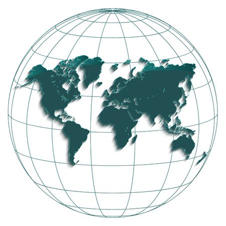 Illustration pour World map globe earth globe geographic coordinates white background petroleum color vector - image libre de droit