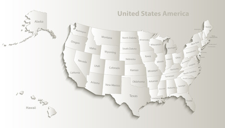Illustration pour USA map with Alaska and Hawaii map separate states individual names card paper 3D natural vector - image libre de droit