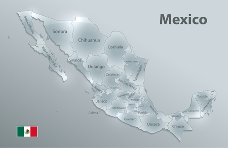 Illustration pour Mexico map, new political detailed map, separate individual states, with state names, glass card 3D state names, isolated on white background 3D vector - image libre de droit