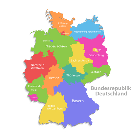Illustration pour Germany map, new political detailed map, separate individual regions, with state names, isolated on white background 3D - image libre de droit