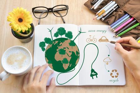 Foto de Hand write Notebook love earth concept. - Imagen libre de derechos