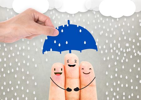 Photo pour salesman agent hand holding umbrella protection family. concept accident prevention healthcare insurance. - image libre de droit