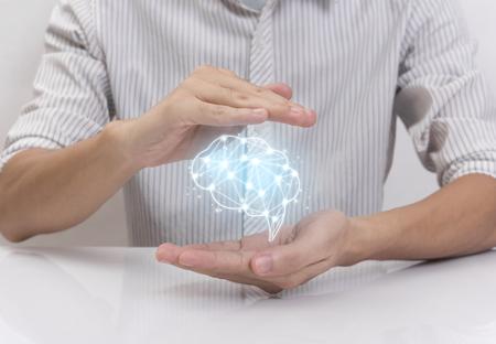 Photo pour hand prevent brain, concept teamwork ideas with innovation and creativity. - image libre de droit