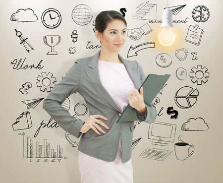 Photo pour businesswomen with lightbulb. concept for new ideas with innovation and creativity. - image libre de droit
