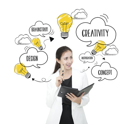 Photo pour businesswomen thinking with lightbulb. concept for new ideas with innovation and creativity. - image libre de droit