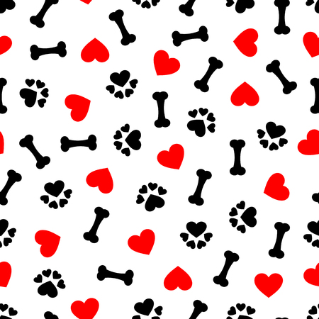 Ilustración de Cute seamless pattern with dog bone, paw print and red heart, transparent background - Imagen libre de derechos