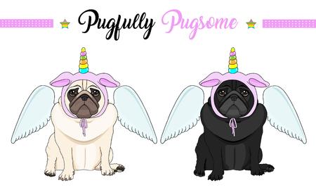 Ilustración de cute vector pug puppy dog sitting down, wearing pink bonnet with unicorn horn with rainbow colors and angel wings - Imagen libre de derechos