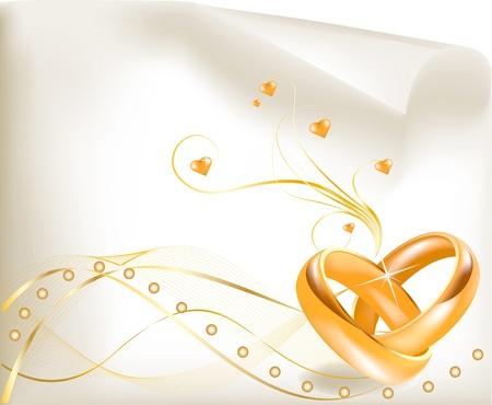 Foto de 3D golden wedding rings  - Imagen libre de derechos