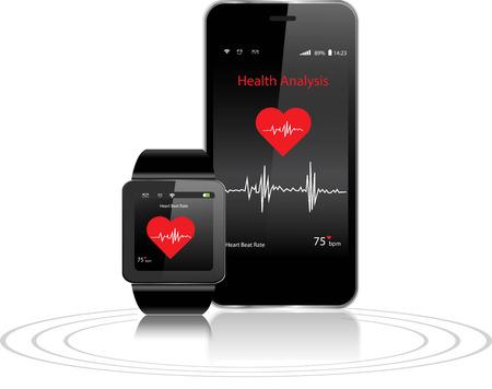 Illustration pour Black Touchscreen Smartwatch and Smartphone with health apps - image libre de droit