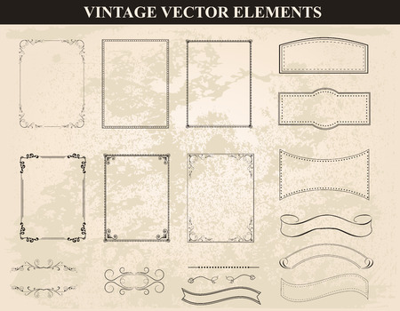 Illustration pour Decorative vintage frames and borders set vector.Abstract vintage frame design in various styles.Vector Vintage Ornament - image libre de droit