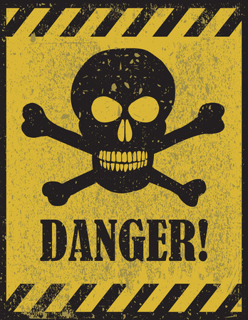 Illustration pour Danger sign with skull symbol. Deadly danger sign, warning sign, danger zone - image libre de droit