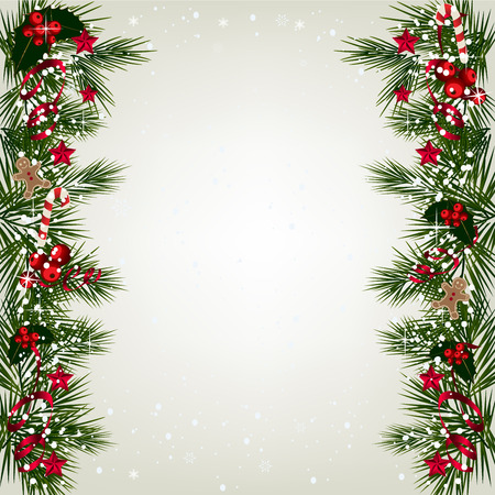 Ilustración de Christmas background with tree branch border with berry and ribbon. - Imagen libre de derechos