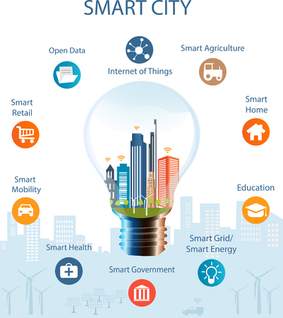 Illustrazione per Smart city concept with different icon and elements. Modern city design with  future technology for living. Illustration of innovations and Internet of things.Internet of things/Smart city - Immagini Royalty Free