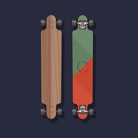 Vector illustration of Longboard in a flat style. Longboard isolated on blue background.
