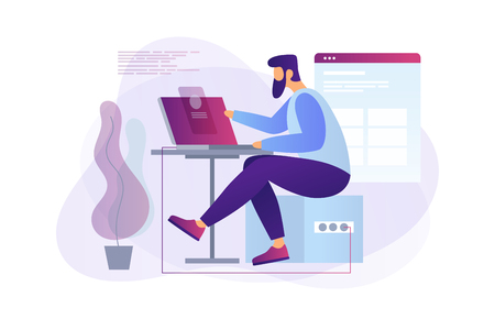 Illustrazione per Cartoon programmer at work. Web developer working on laptop in the office. Programming concept. The process of creating web pages. Vector flat illustration. - Immagini Royalty Free