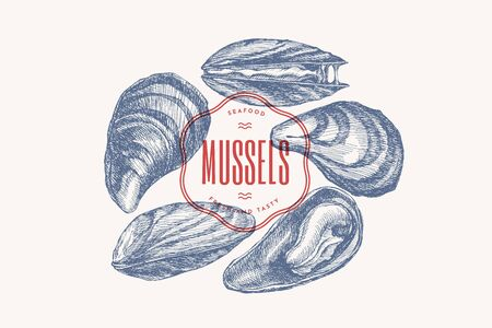 Illustration for Hand-drawn set of mussels in different foreshortening vector illustration. Seashells in engraving style on a light background. Seafood. The menu design element of a fish restaurant, market or store. - Royalty Free Image