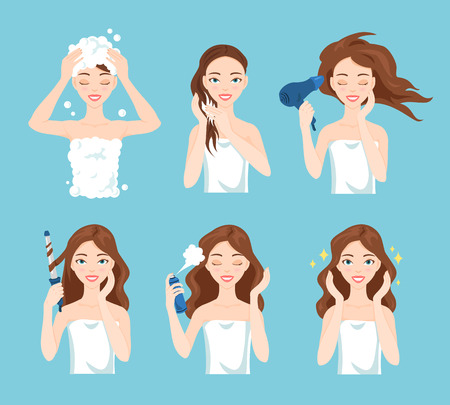 Illustration for Attractive young woman wash, care and style her hair. Hair treatment procedures. - Royalty Free Image