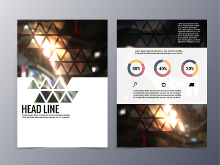 Ilustración de business and technology brochure design template vector tri-fold in A4size  for use as company annual report, poster,flyer - Imagen libre de derechos