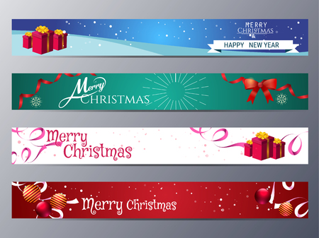 Illustration pour set of christmas banner vector illustration ,standard web design size - image libre de droit