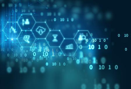 Foto de fintech icon  on abstract financial technology background represent Blockchain and  Fintech Investment  Financial Internet Technology Concept.   - Imagen libre de derechos