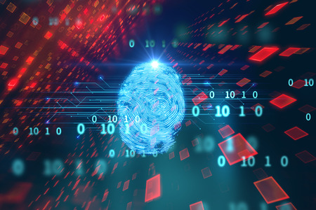 Foto de Finger print Scanning Identification System. Biometric Authorization and Business Security Concept. - Imagen libre de derechos