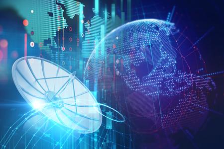 Photo pour 3d illustration of Satellite dish transmission data on abstract technology background - image libre de droit