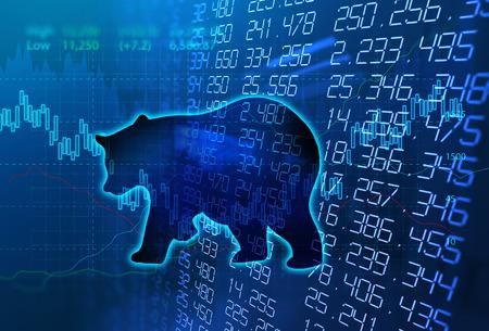 Photo pour silhouette form of bear on financial stock market graph represent stock market crash or down trend investment - image libre de droit