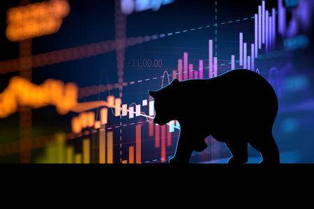 Foto de silhouette form of bear on financial stock market graph represent stock market crash or down trend investment - Imagen libre de derechos