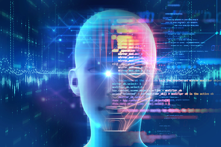 Photo pour Face detection and recognition of digital human 3d illustration.Concept of  Computer vision and artificial intelligence and biometric facial  identification.  - image libre de droit